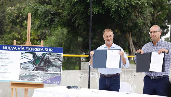Jorge Muñoz firmó con el representante de Graña y Montero el reinicio del proyecto de la Vía Expresa Sur. (Difusión)