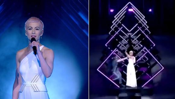 Momento en el que participante de Eurovisión es interrumpida por manifestante. (Foto: Captura de pantalla)