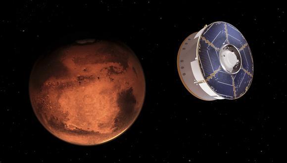 Esta ilustración de la NASA muestra la nave espacial Mars 2020 de la NASA que lleva el rover Perseverance a medida que se acerca a Marte. (Cortesía / NASA / AFP)