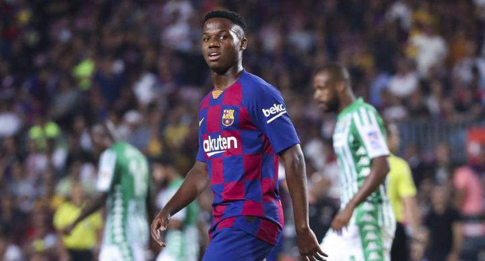 Ansu Fati en su primer partido oficial con el Barcelona: 16 años, 9 meses y 25 días. (Foto: AFP)