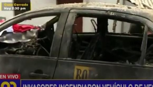 El dueño del vehículo denunció que el hecho ocurrió durante el desalojo de invasores en Lomo de Corvina   Captura: Latina