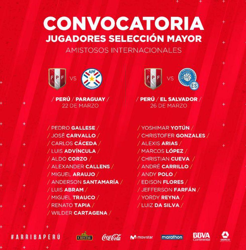 Lista de convocados de la Selección Peruana para enfrentar a Paraguay y El Salvador. | Foto: @SeleccionPeru