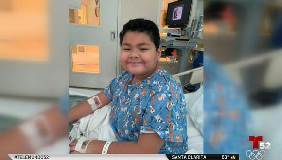 Christian, de 8 años, se contagió de covid en febrero. La enfermedad complicó su respiración respiración por lo que tuvo que ser hospitalizado. (Foto: Captura Telemundo).