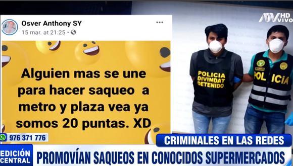 Los sujetos promovían los saqueos a supermercados a través de Facebook. (ATV)