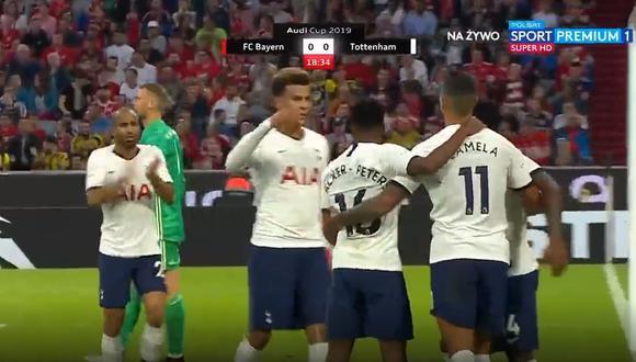 Bayern Múnich vs. Tottenham: el gol con el que Erik Lamela puso el 1-0. (Foto: captura de pantalla / Polsat Sport)
