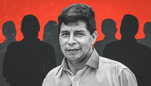 Pedro Castillo y su entorno en el marco de la campaña por las elecciones generales del 11 de abril. (Composición: El Comercio)