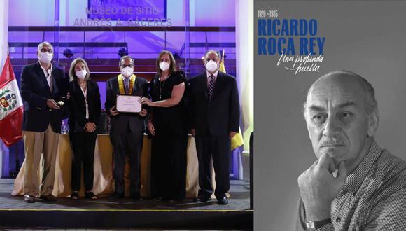 """Izq.: la familia de Roca Rey recibió el reconocimiento de manos del alcalde de Miraflores, Luis Molina. Der.: portada del libro """"Ricardo Roca Rey. Una profunda huella"""". (Foto: Hugo Pérez)"""