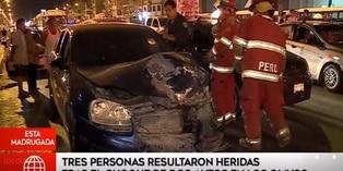 Los Olivos: choque de dos vehículos dejó tres heridos en Av. Universitaria