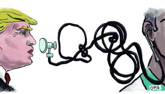"""Después de semanas de afirmar que las cifras de la OMS sobre el coronavirus son falsas y de acusar al organismo de estar """"muy del lado de China"""", el presidente de Estados Unidos, Donald Trump, notifica formalmente a la ONU el 7 de julio de la salida de su país de la OMS, hecho que tendrá efectos prácticos a partir de julio del 2021. (Ilustración: Giovanni Tazza)"""