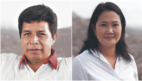 La segunda vuelta de las elecciones presidenciales se definirá entre Pedro Castillo (Perú Libre) y Keiko Fujimori (Fuerza Popular). (Fotos:  Perú Libre / Hugo Pérez / Archivo)