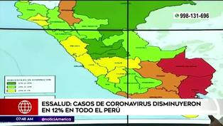Casos de COVID-19 disminuyen un 12% en todo el Perú