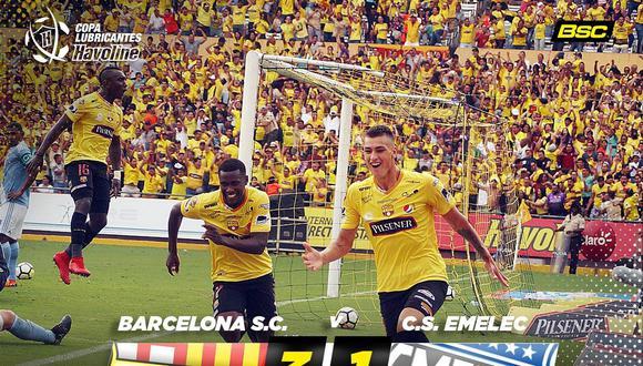 Barcelona de Guayaquil es el único líder del campeonato, tras vencer a Emelec en una nueva edición del clásico del fútbol ecuatoriano. (Foto: Barcelona S.C.)