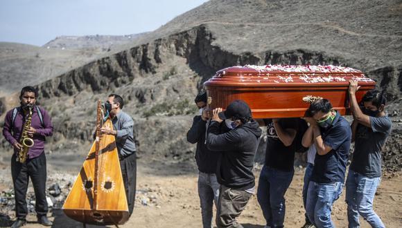 Familiares llevan el ataúd de una presunta víctima de coronavirus COVID-19 mientras los músicos tocan en el cementerio Nueva Esperanza, uno de los más grandes de América Latina, en las afueras del sur de Lima. (Foto de ERNESTO BENAVIDES / AFP).