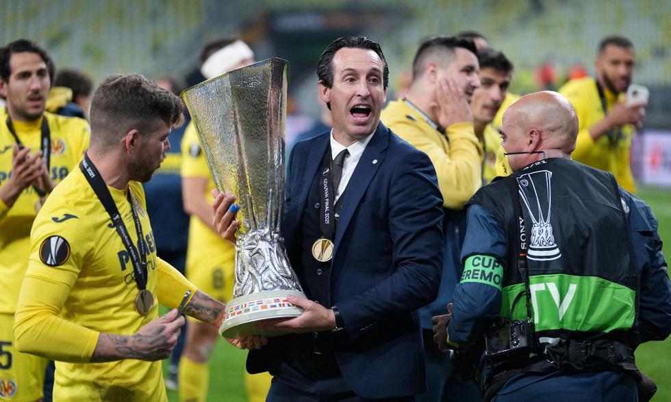 Villarreal se proclamó campeón de la Europa League tras vencer 11-10 al Manchester United en tanda de penales.   Foto: AFP