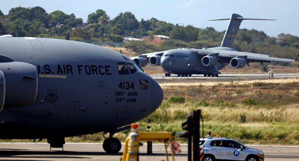 Cúcuta: llegan a la frontera entre Venezuela y Colombia tres aviones militares de Estados Unidos con ayuda humanitaria. (Reuters).