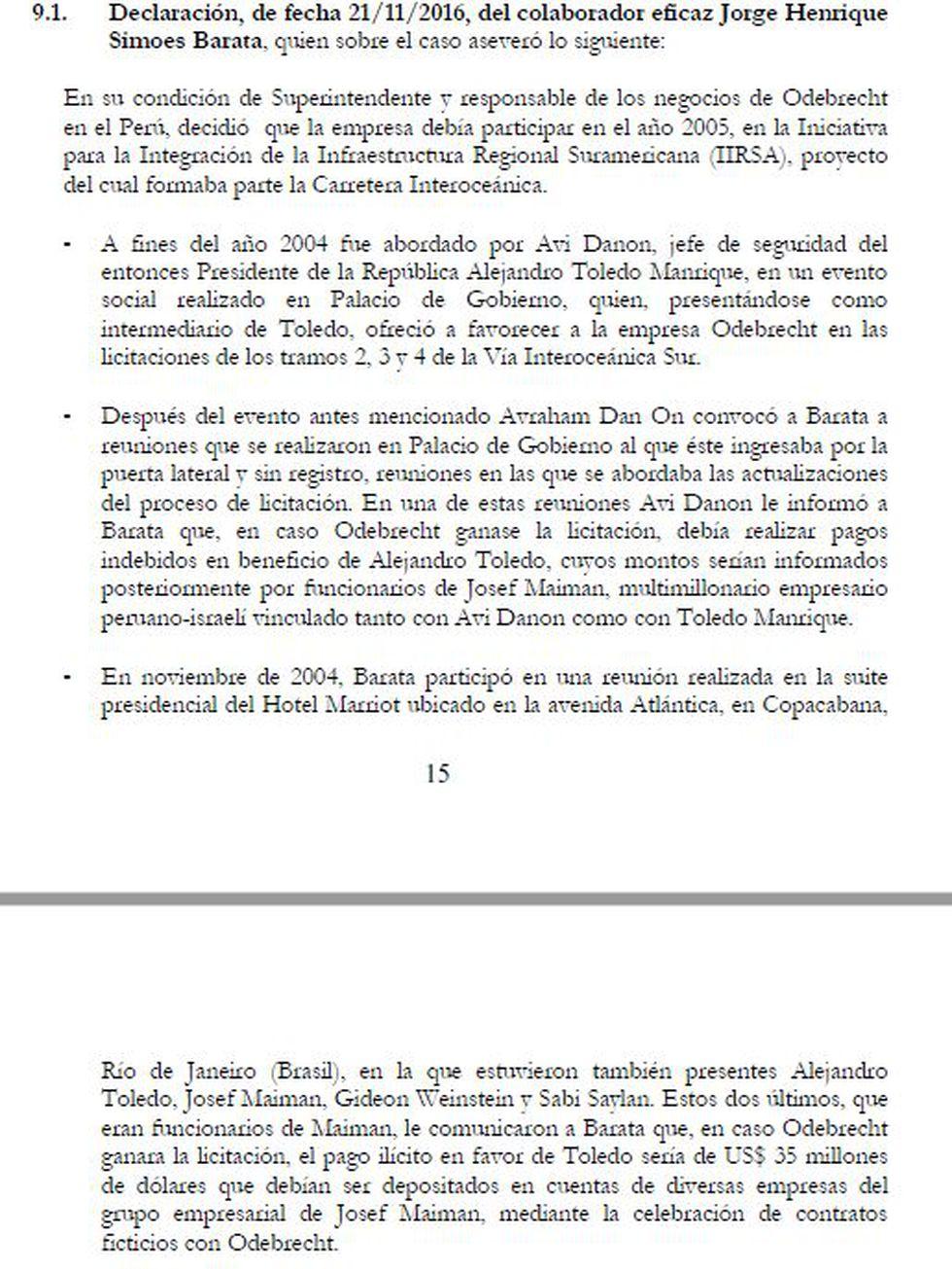 La declaración de Jorge Barata en enero del 2017, ante el fiscal Hamilton Castro, de acuerdo al requerimiento de extradición presentado por el juez Richard Concepción Carhuancho.