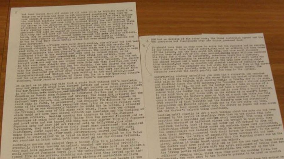 Hojas que hacen parte del documento escrito por Jean Williams sobre la masacre al que le faltan algunas partes.