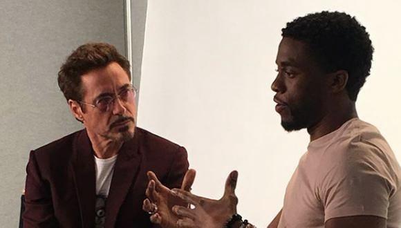 Robert Downey jr junto a Chadwick Boseman durante una presentación para Disney en 2017. (Foto: Instagram / @robertdowneyjr)