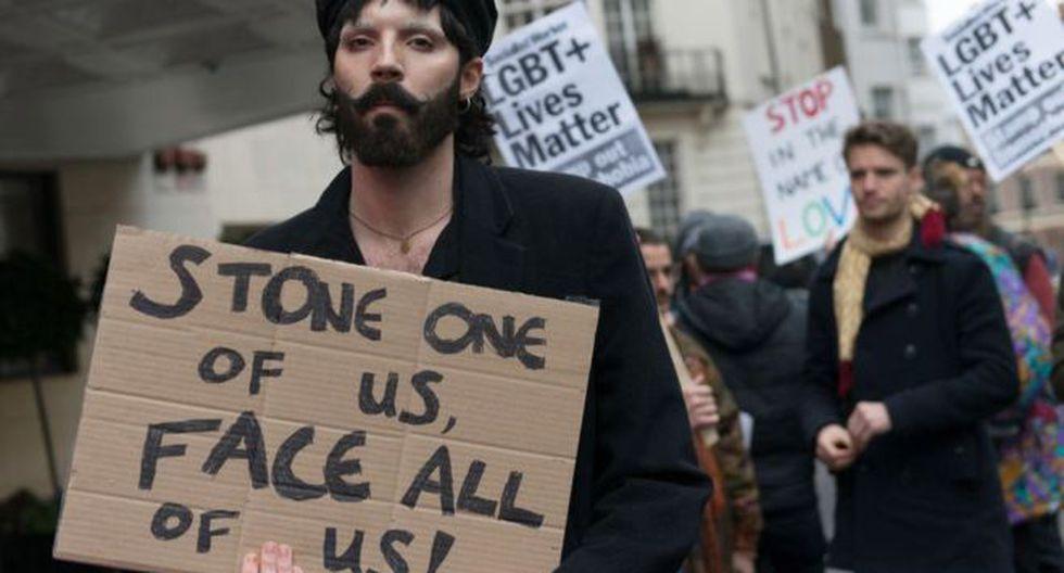 Protestas en Londres por las nuevas leyes de Brunéi en contra de los homosexuales. Foto: Getty images, vía BBC Mundo