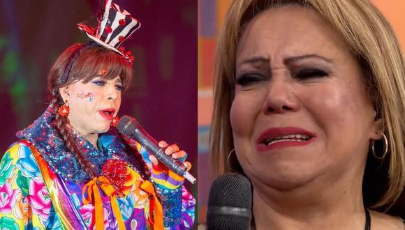 Nancy Cavagnari no pudo contener las lágrimas tras recibir un reconocimiento por su trayectoria artística. (Foto: Composición Captura América TV / difusión)