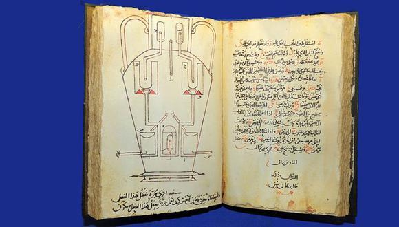 """""""El Libro de los aparatos ingeniosos"""" fue un gran trabajo ilustrado sobre dispositivos mecánicos, incluidos los autómatas, publicado en 850 d.C. (Foto: Science Photo Library)"""