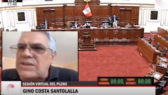 Gino Costa del Partido Morado estaba hablando cuando se filtró una frase en el pleno. Foto: Captura de video