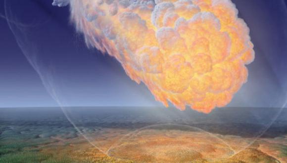 Representación ilustrativa de la explosión de un asteroide en el área del río Tunguska, en Siberia, 1908 (Don Davis)