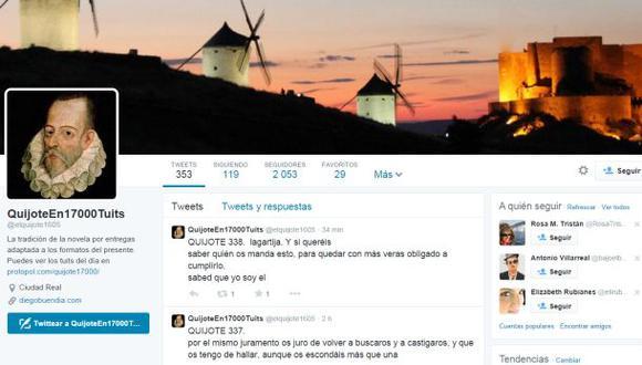 """Un español lleva """"El Quijote de la Mancha"""" a Twitter"""