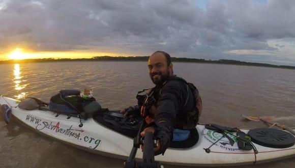 Rafael y su gato Salomón recorrieron 970 kilómetros desde Leticia, Amazonas hasta San Raimundo, Brasil. (Foto: Rafael Flórez)