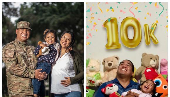 Izquierda: El oficial FAP Ronald Heredia junto a su esposa Claudia (quien ya lleva a Dara en su barriga) y su hija Bruna, de 4 años. Derecha: La celebración cuando su cuenta de IG llegó a los 10 mil seguidores. En la actualidad tiene 22 mil.  (Foto: Elías Alfageme/IG)