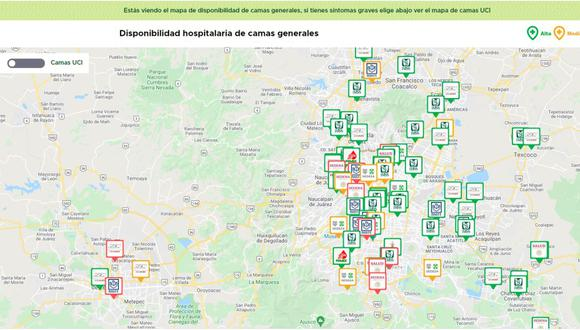 Mapa de hospital te indica donde puedes acudir a atenderte en caso de emergencia. (Foto: Captura Servicios Covid-19)