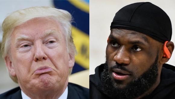 El expresidente Donald Trump le llamó la atención en Twitter a LeBron James (Fotos: AFP)