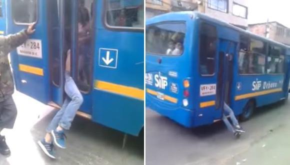 YouTube: ladrón quedó atrapado en la puerta de un bus [VIDEO]