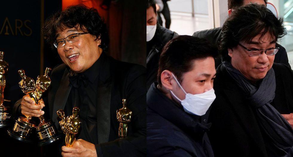 """El director de """"Parasite"""", Bong Jun-ho, fue recibido con aclamaciones y aplausos al retornar a Corea del Sur el domingo después de su histórica cosecha de cuatro premios Oscar."""