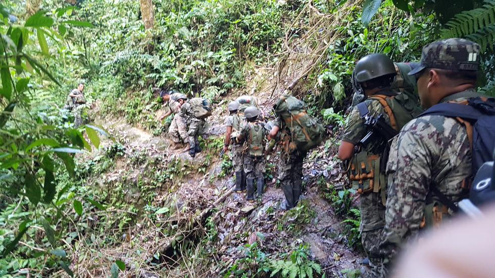 """Cerca de 100 efectivos del Ejército y la Policía Nacional intervinieron el puesto de observación """"El Tambo"""", donde funcionaba la mina """"Afrodita"""". (Foto: Mininter)"""