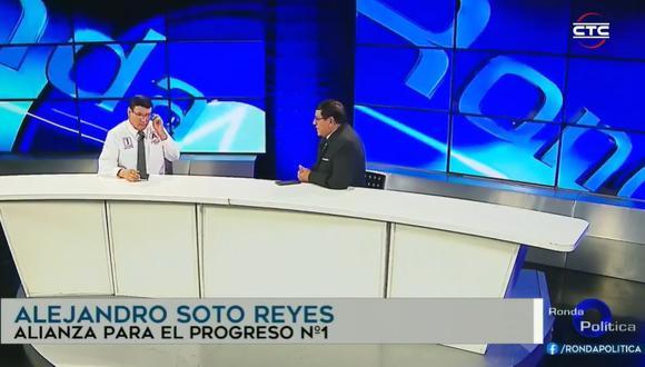 El candidato Alejandro Soto utilizó su programa de televisión para hacerse una entrevista a sí mismo | Foto: Captura de video