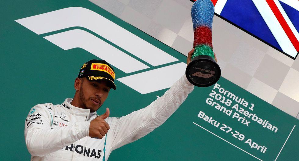 ¡Lewis Hamilton ganó el GP de Azerbaiyán! El británico es líder en la Fórmula 1. (Foto: AFP)