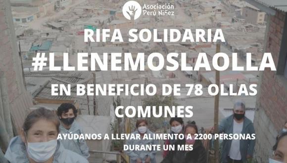 La meta es S/.50 mil soles, con lo que se asegurará un mes de alimentos para las 2200 personas a las que llegan las 78 Ollas comunes que sostiene La Asociación Perú Niñez. (Foto: Difusión)