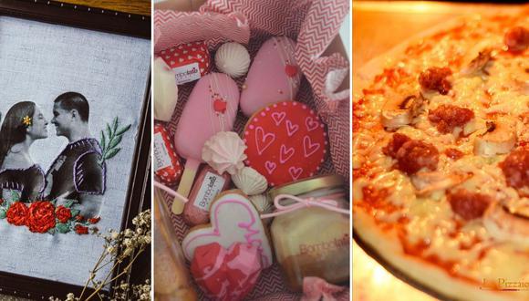 Este Día del Amor y la Amistad, apoya a un emprendimiento peruano y sorprende a tu pareja con un cuadro personalizado, chocolates, o una cena especial. (Fotos: IG/ @majestikbordados, @bombolate.bakery, @lapizzaiola.peru)