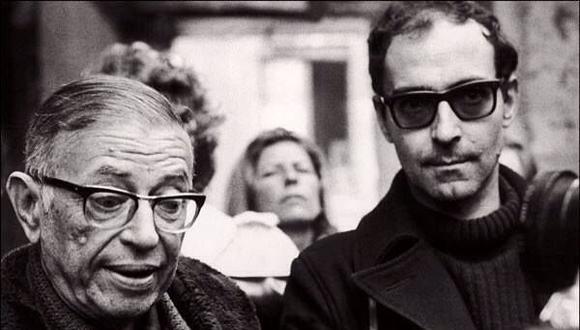 Jean Paul Sartre junto a Jean-Luc Godard