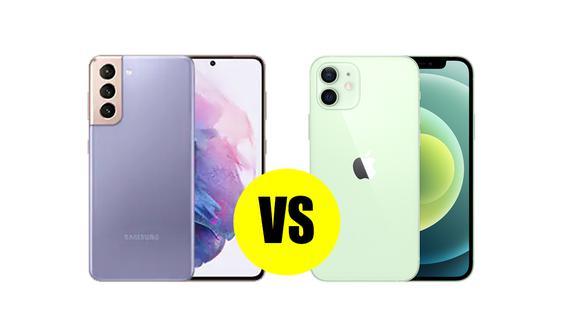 ¿Quieres saber cuáles son sus diferencias? Conoce las principales características del Samsung Galaxy S21 y iPhone 12. (Foto: GSMarena)