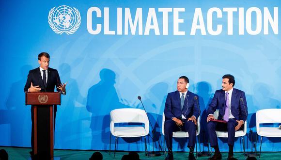 El presidente de Francia, Emmanuel Macron, pronuncia un discurso durante la Cumbre del Clima en la ONU. (EFE).