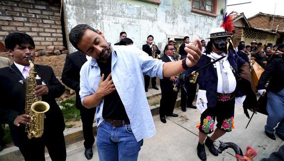 El periodista Martín Arredondo durante la Tunantada en Jauja.