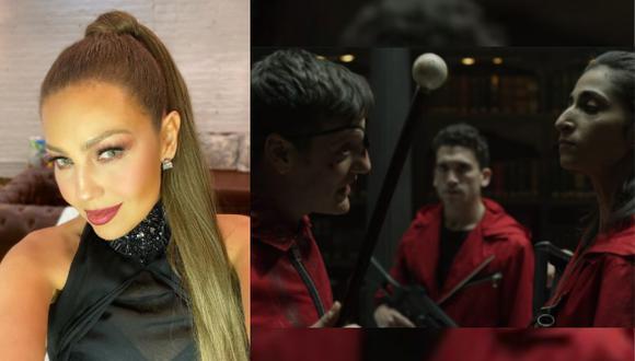 """Thalía causa furor en redes con imitación de famosa escena de """"La casa de papel""""  (Foto: Instagram)"""