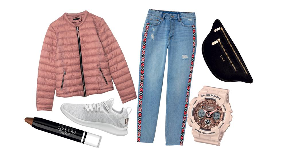 Outfits denim + rayas laterales