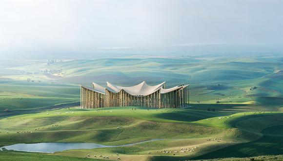 Edificio que forma parte del proyecto Earth Station, de Michele De Lucchi en el que se privilegia el uso de materiales sostenibles.
