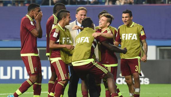 La celebración de la selección 'vinotinto' luego de la histórica clasificación. (Foto: AP/AFP)