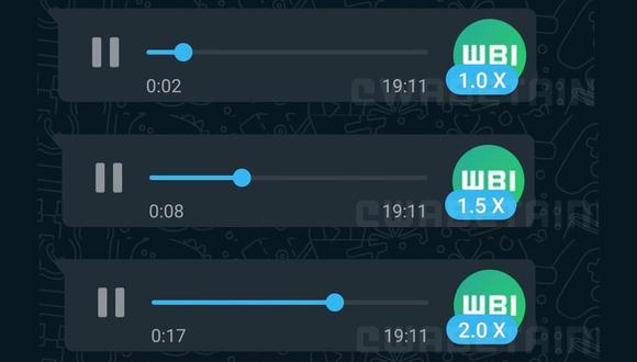 Así luce la nueva función que permite acelerar los mensajes de voz en WhatsApp, según una serie de capturas de pantalla publicadas por WABetaInfo. (Captura de pantalla)