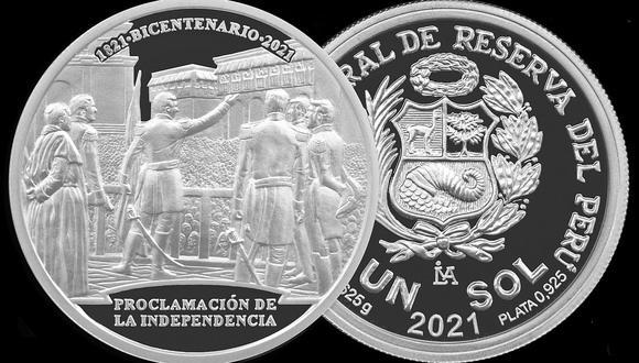La nueva moneda de plata alusiva a la Proclamación de la Independencia entró en circulación desde hoy martes 27 de julio. (Foto: BCR)