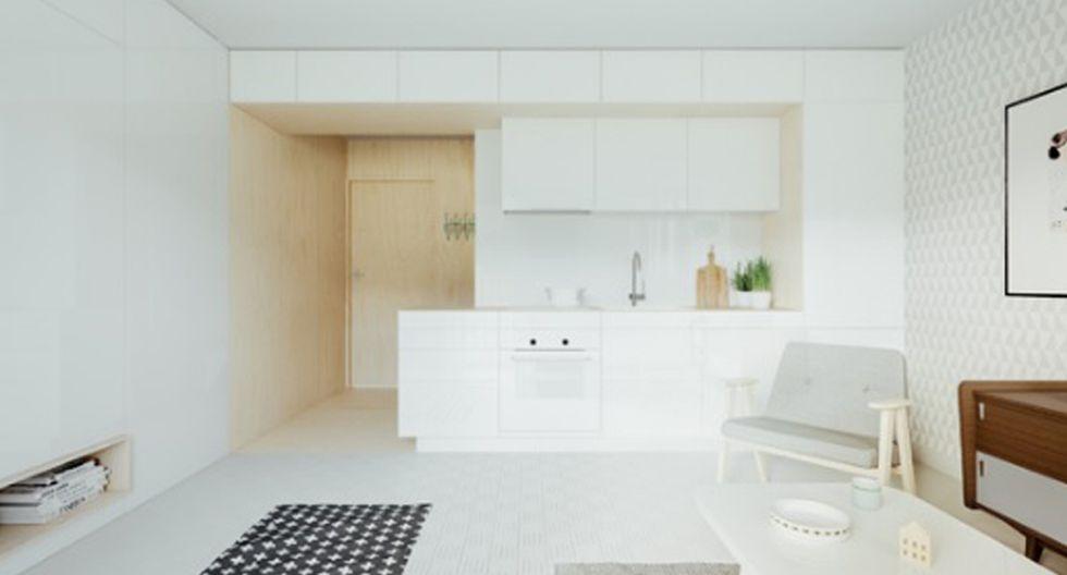 Muebles impecables: Una cocina americana fue la solución para lograr espacios conectados. Los reposteros son de diseño limpio y lineal, para no generar desorden visual. (Foto: Piotr Matuszek)